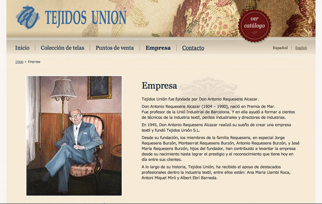 Text page on the Tejidos Unión website