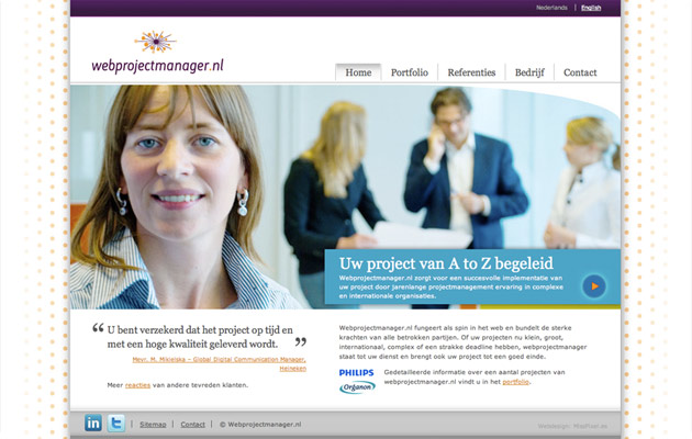Homepage Webprojectmanager.nl